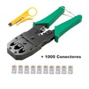 Kit Alicate Crimpar RJ45 e RJ11 + 1000 Conectores RJ45 Cat5e