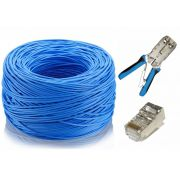 Kit Cabo de Rede CAT5e 100m  + Alicate de Crimpar Blindado + Conector Blindado CAT5E (100 unidades)
