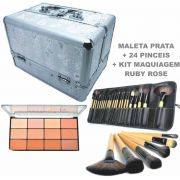 Kit Maleta Prata + 24 Pincéis com Estojo Premium + Kit Maquiagem Completa Ruby Rose (Paleta Sombra Pó facial bronzeador Iluminador Contorno)