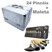Kit Maleta Prata Maquiagem Grande Profissional + 24 Pincéis