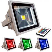 Refletor Holofote Super Led RGB 20W c/ controle remoto