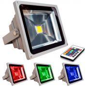 Refletor Holofote Super Led RGB 50W c/ controle remoto