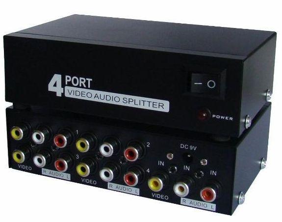 Distribuidor RCA Splitter de Video Composto c/ Audio 1 x 4 portas