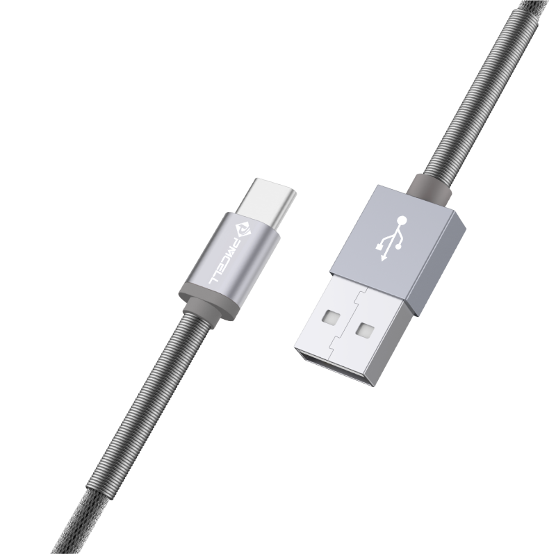 CABO USB TIPO C MOLA 1M - PMCELL CROMO877 CB-22