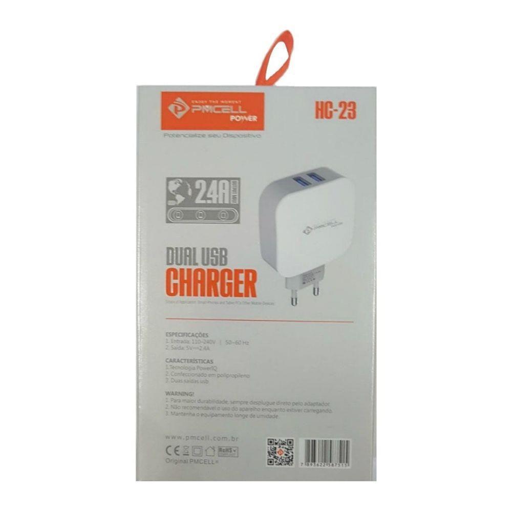 CARREGADOR TOMADA CELULAR 2x USB 2.4A - PMCELL POWER798 HC-23