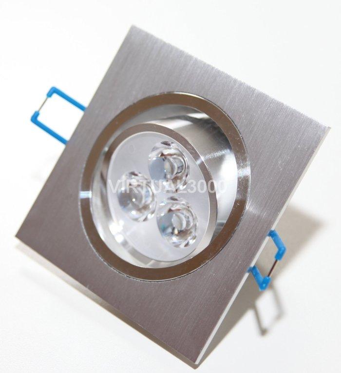 Spot Alumínio Quadrado 3W Led (1x3W) Branco Puro