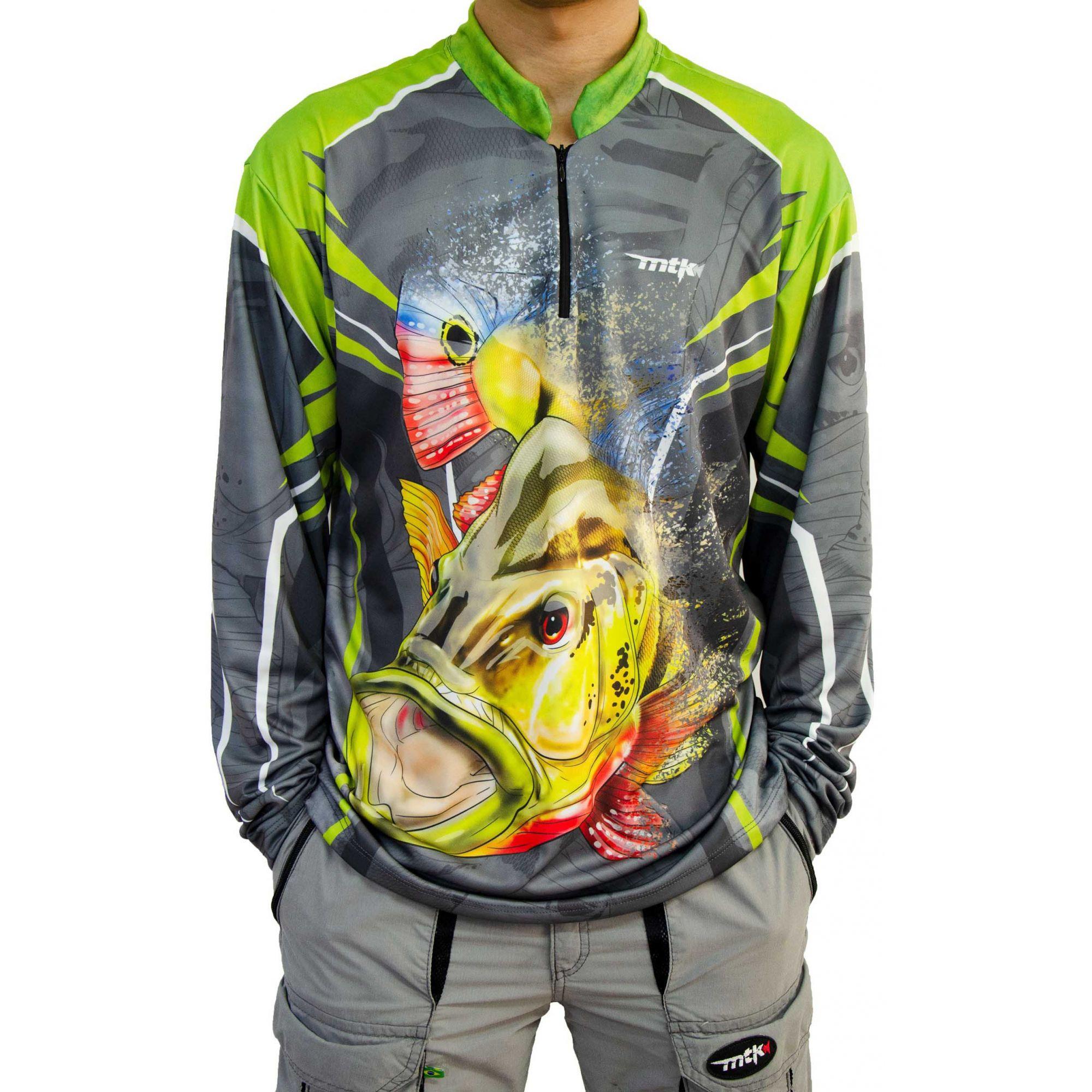 Camiseta De Pesca Mtk Atack Z - Protecao Solar Uv - Tucunaré Cinza 2301cb74e3889