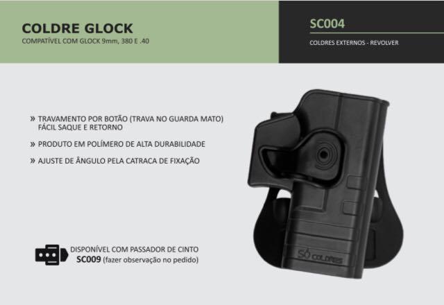 COLDRE GLOCK 9mm, .380, .40
