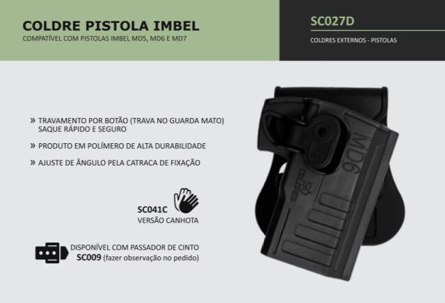 COLDRE PISTOLA IMBEL MD5, MD6 E MD7