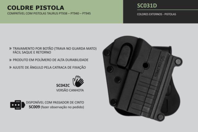 COLDRE PISTOLA TAURUS PT 938, 940 E 945