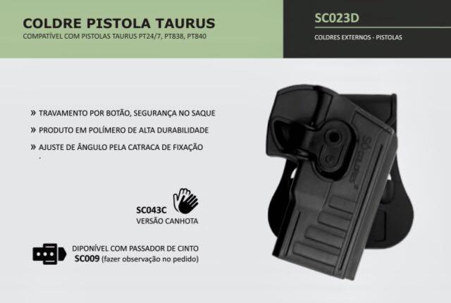 COLDRE PISTOLA TAURUS PT 840-24/7-638-640
