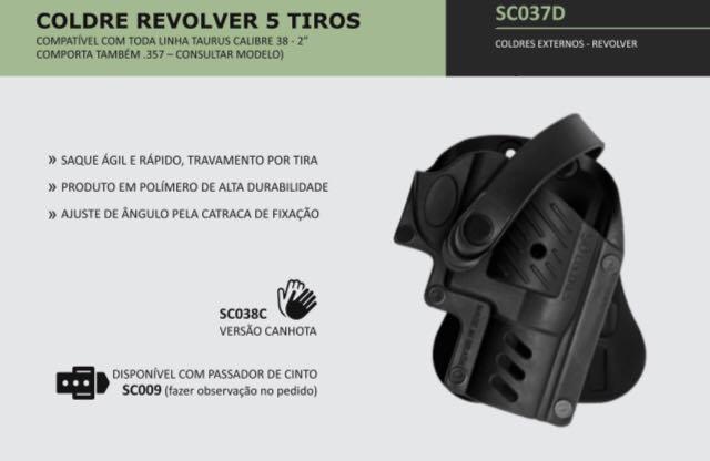 COLDRE REVOLVER 5 TIROS TAURUS (85/85s/85ti/85ul) E ROSSI (272).