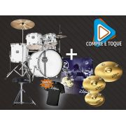 KIT BATERIA MAPEX + KIT PRATOS ZILDJIAN PLANET Z + CAMISETA ZILDJIAN (G).