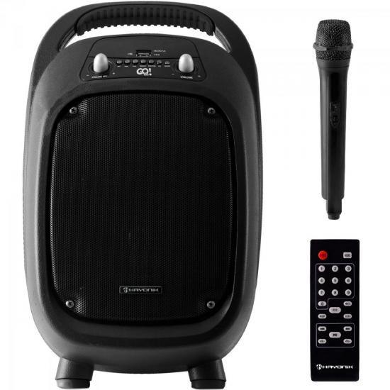 Caixa Multiuso Portátil 100W Bluetooth/MicroSD/USB/FM/Microfone s/Fio GO!100 c/ Bateria PT HAYONIK