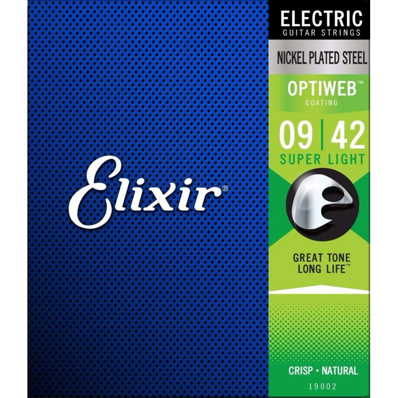 Encordoamento De Guitarra Elixir Optiweb Super Light 009-042