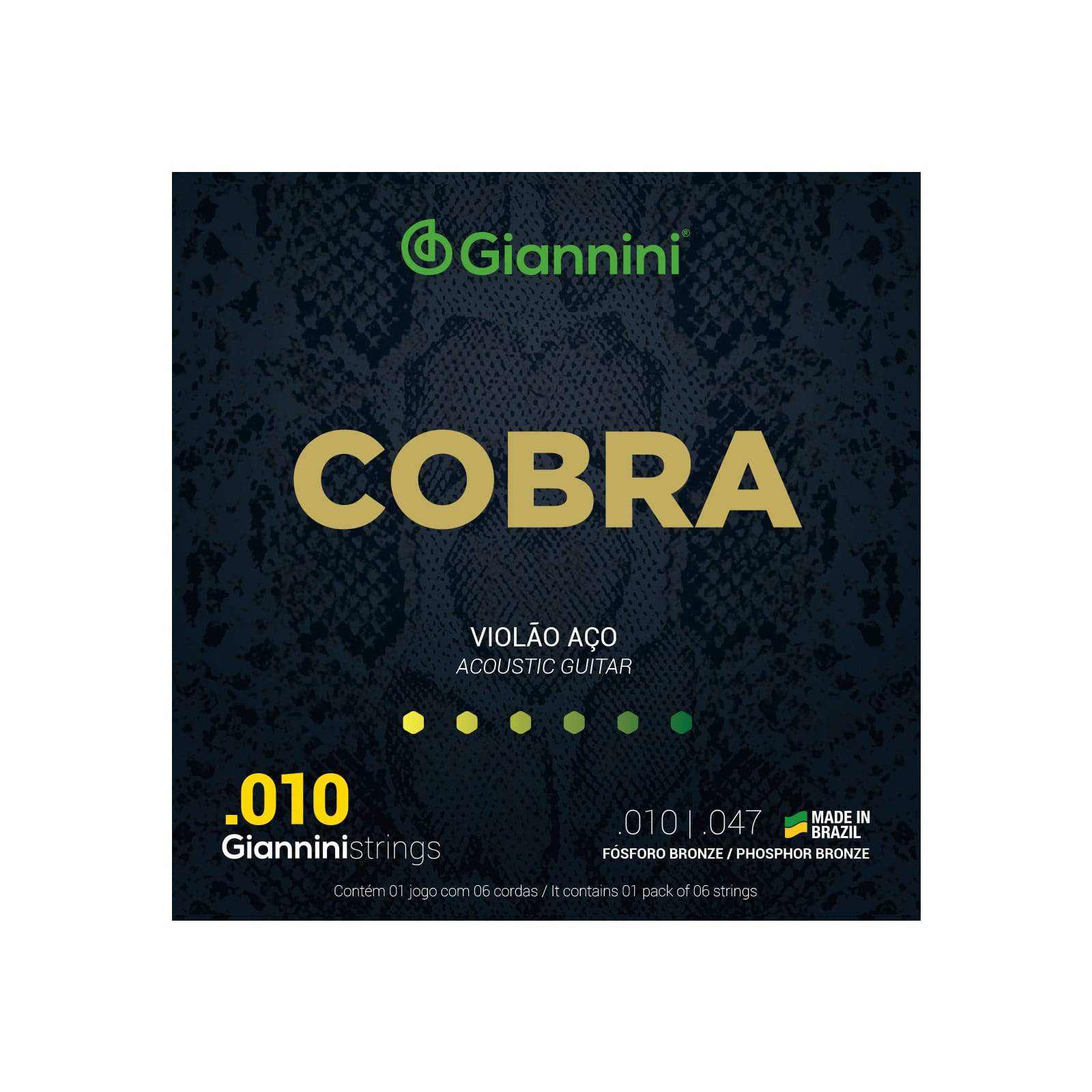 Encordoamento Giannini Cobra Violão Aço .010 Phosphor Bronze