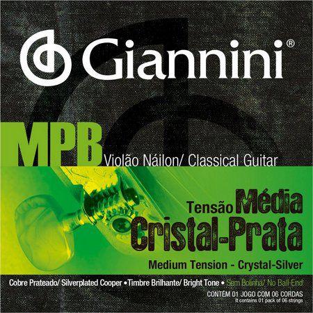 Encordoamento Giannini Cristal Prata Nylon Tensão Media