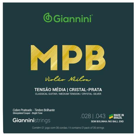 Encordoamento Giannini MPB Cristal Prata Nylon Tensão Media
