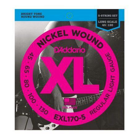 Encordoamento para Contrabaixo Daddario EXL170-5  5 Cordas 0.45