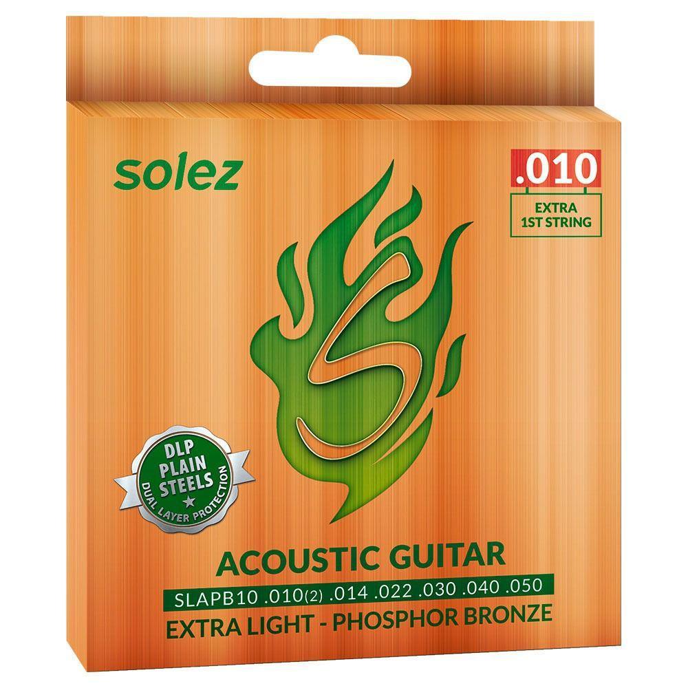 Encordoamentos Solez Phosphor Bronze para Violão Aço 0.10