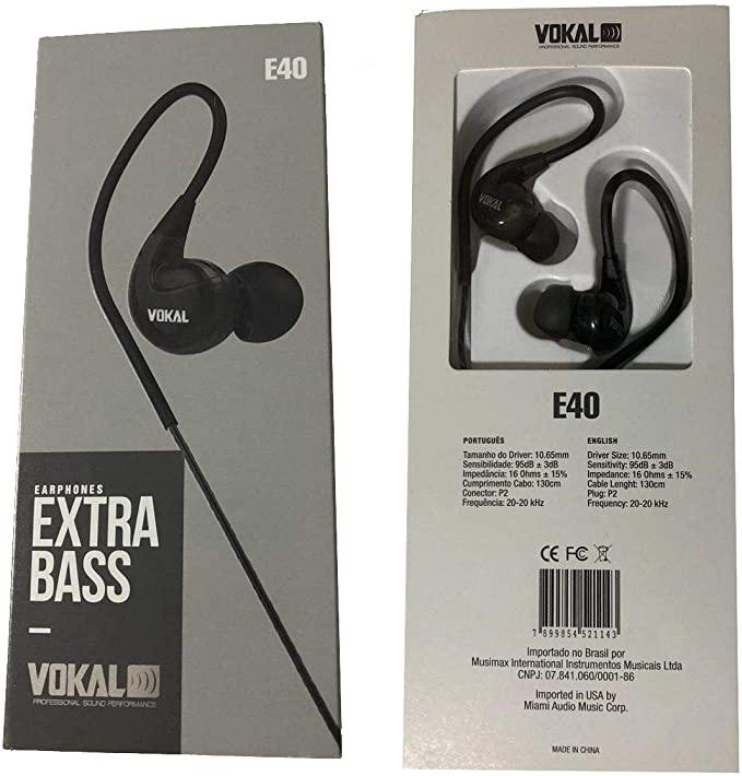 Fone De Ouvido Vokal E40 In Ear Extra Bass - Preto