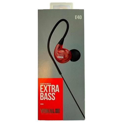 Fone De Ouvido Vokal E40 In Ear Extra Bass - Vermelho