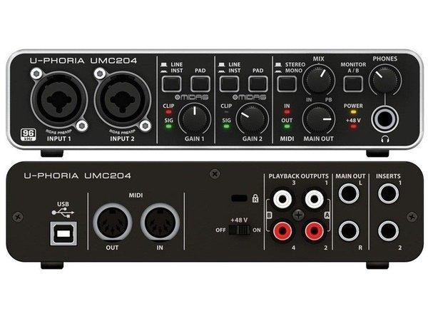 Interface de gravação Behringer U-Phoria Umc 204 hd 192khz