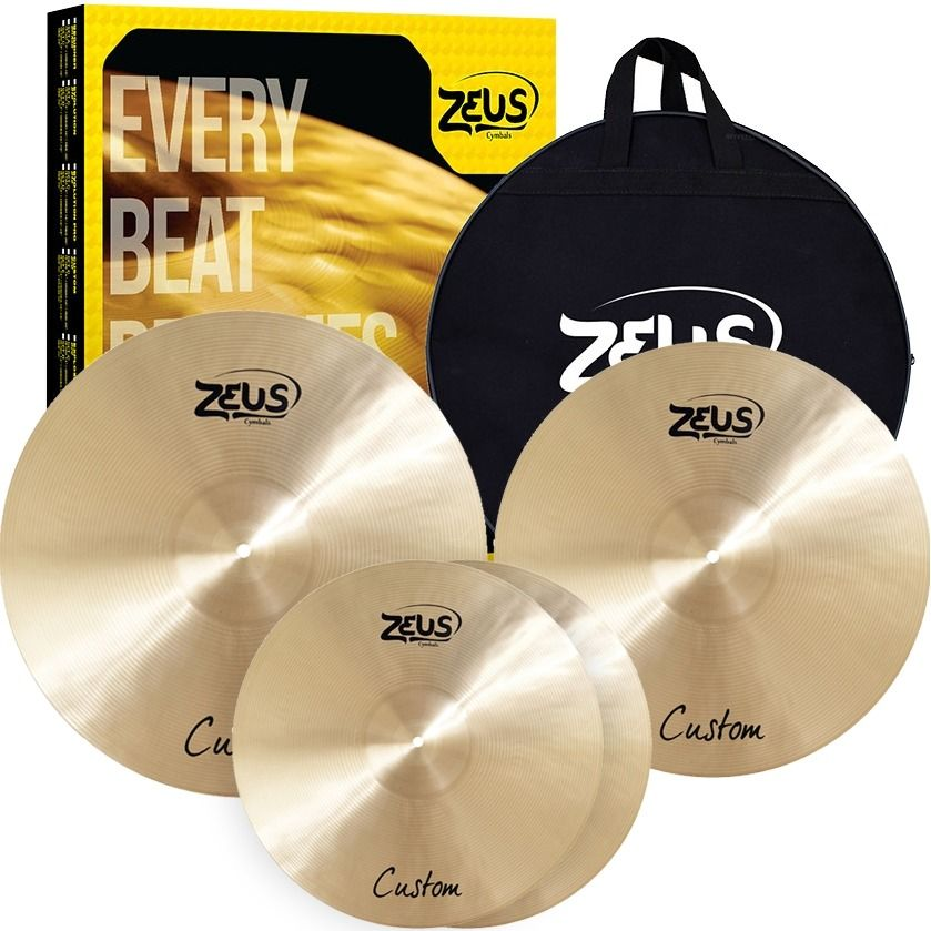 Kit de Pratos Zeus Custom Set Traditional com Bag, Liga B20