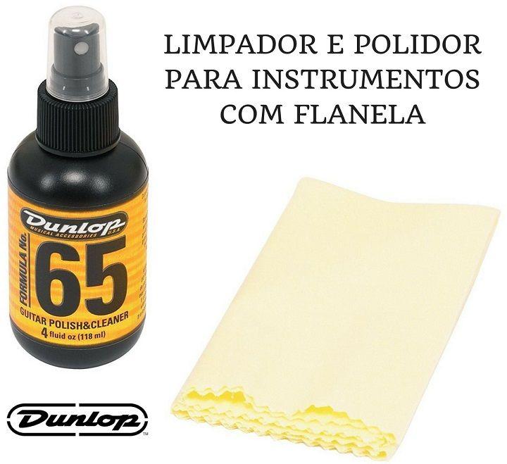 Limpador Polidor Dunlop F65 Com Flanela para limpeza Guitarra Baixo e Violão