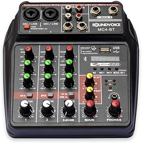 Mesa De Som 4 Canais Soundvoice Mc4-bt Com Bluetooth E Interface De Gravação Usb/bivolt