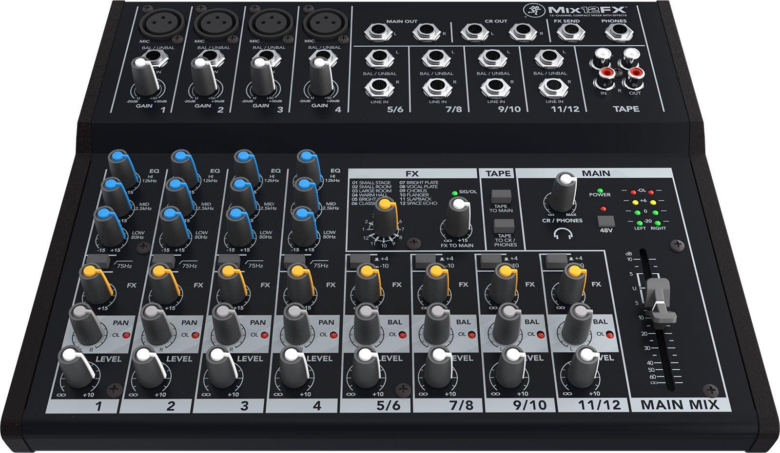 Mesa De Som Mackie 12 Canais com Efeitos Mix12Fx