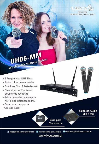 Microfone Lyco sem Fio Duplo Modelo UH06MM
