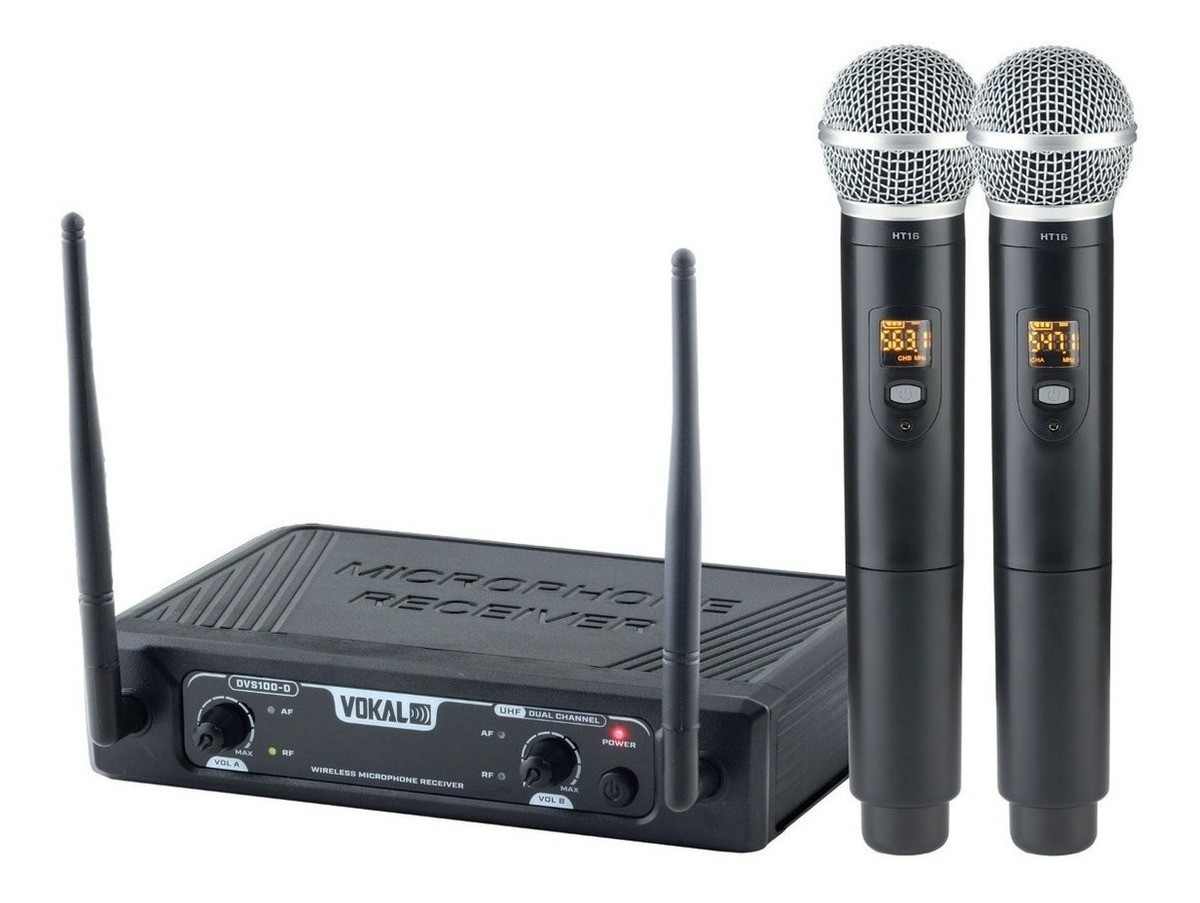 Microfone Sem Fio Duplo de Mão DVS100DM VOKAL