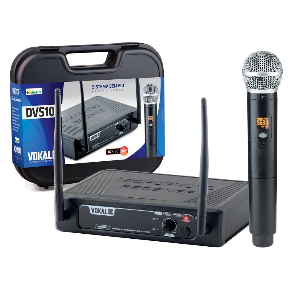 Microfone Sem Fio Profissional de Mão Vokal DVS100/HT16