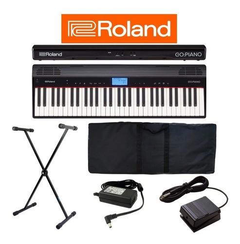 Roland Go Piano 61 Teclas Com Bag + Pedal De Sustain Roland Dp-2 + Suporte em X