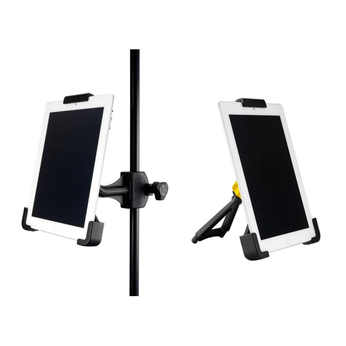 Suporte Para Tablet Hercules 10700 Preto Ajustável Com Capacidade Para 5 Kg E Sistema Ball-Joint