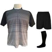 Uniforme Esportivo com 12 Camisas modelo City Preto/Branco + 12 Calções modelo Madrid Preto + 12 Pares de meiões Preto