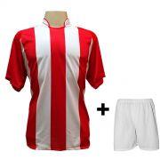 Uniforme Esportivo com 12 Camisas modelo Milan Vermelho/Branco + 12 Calções modelo Madrid Branco