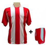 Uniforme Esportivo com 12 Camisas modelo Milan Vermelho/Branco + 12 Calções modelo Copa Vermelho/Branco