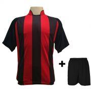 Uniforme Esportivo com 12 Camisas modelo Milan Preto/Vermelho + 12 Calções modelo Madrid Preto