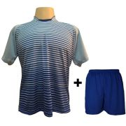 Uniforme Esportivo com 12 Camisas modelo City Celeste/Royal + 12 Calções modelo Madrid Royal