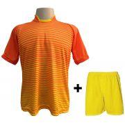 Uniforme Esportivo com 12 Camisas modelo City Laranja/Amarelo + 12 Calções modelo Madrid Amarelo