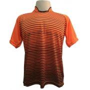 Jogo de Camisa com 12 unidades modelo City Laranja/Preto + 1 Camisa de Goleiro