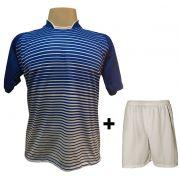 Uniforme Esportivo com 12 Camisas modelo City Royal/Branco + 12 Calções modelo Madrid Branco