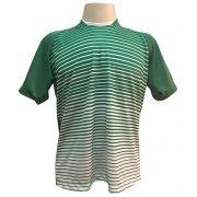 Jogo de Camisa com 12 unidades modelo City Verde/Branco + 1 Camisa de Goleiro