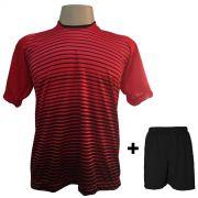 Uniforme Esportivo com 12 Camisas modelo City Vermelho/Preto + 12 Calções modelo Madrid Preto