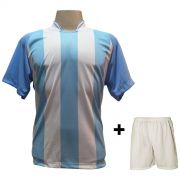 Uniforme Esportivo com 12 Camisas modelo Milan Celeste/Branco + 12 Calções modelo Madrid Branco