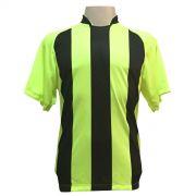 Jogo de Camisa com 12 unidades modelo Milan Limão/Preto + 1 Camisa de Goleiro