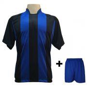 Uniforme Esportivo com 12 Camisas modelo Milan Preto/Royal + 12 Calções modelo Madrid Royal