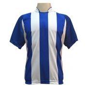 Jogo de Camisa com 12 unidades modelo Milan Royal/Branco + 1 Camisa de Goleiro